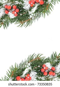 Christmas framework with snow and holly berry isolated on white background