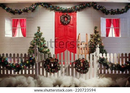 Christmas Front Door Country House Background Stock Photo Edit Now