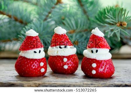 Christmas fun food idea - strawberry Santa Claus, healthy and delicious treat for kids