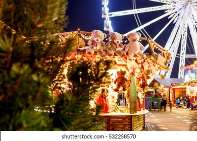 Christmas funfair in the night