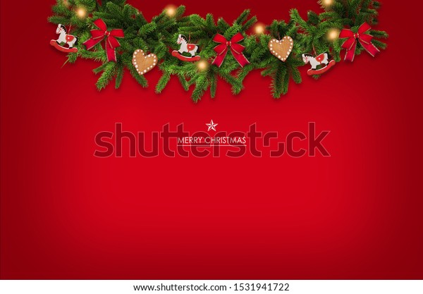 Christmas garland background with greetings