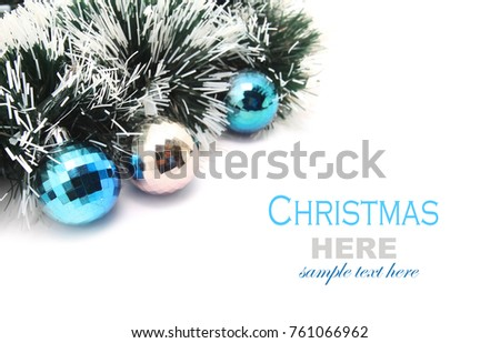 Christmas Garland Blue Silver Baubles Isolated Stock Photo Edit Now