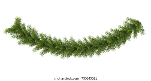 Christmas Garland Decoration Isolated. 3D rendering