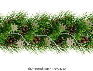 Christmas garland for decoration isolated on white