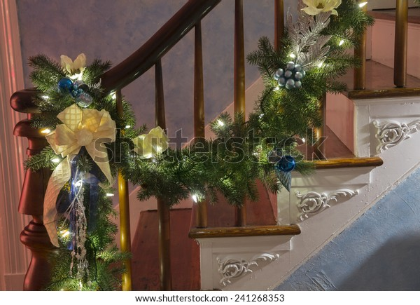 Christmas Garland Draped On Stairs Stock Photo Edit Now 241268353