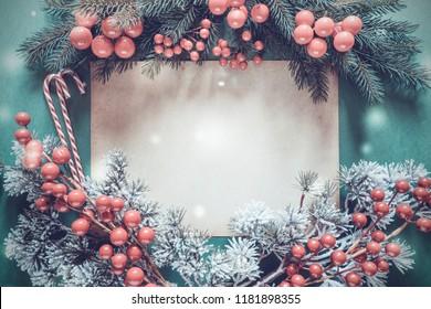 Christmas Garland, Fir Tree Branch, Copy Space