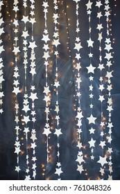 Christmas garland with lights and stars