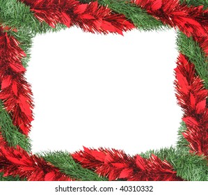 Christmas garland making a frame, with space for text