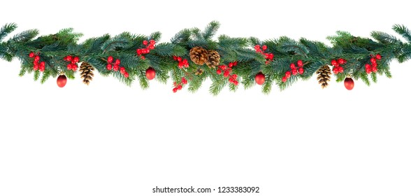 Christmas garland on white