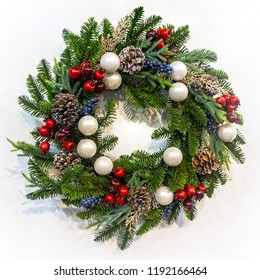 Christmas garland on white background