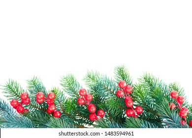 Christmas garland with red berries border on isolated white background