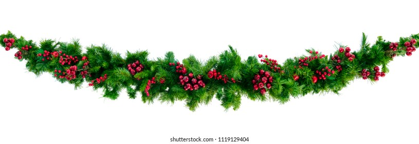 Christmas garland with red berries, isolated on white.