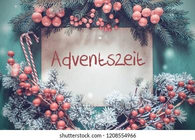 Christmas Garland, Red Text Adventszeit Means Advent Season