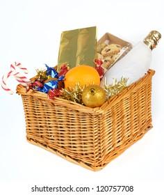 Christmas gift basket isolated on white background