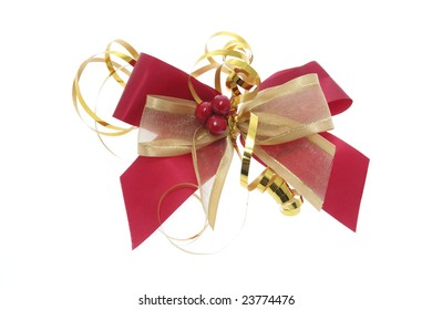 Christmas Gift Bow on Isolated White Background