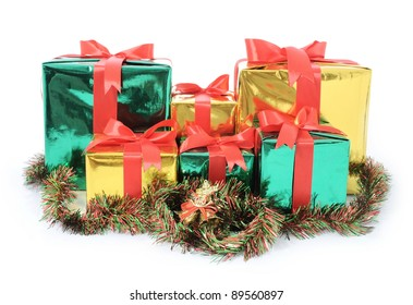 Christmas gift box with bell isolated on white background