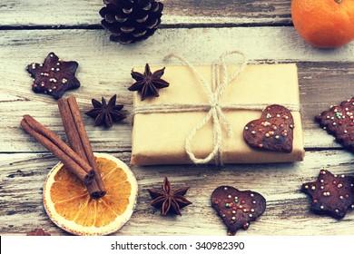 Christmas gift box, cookies and fruits