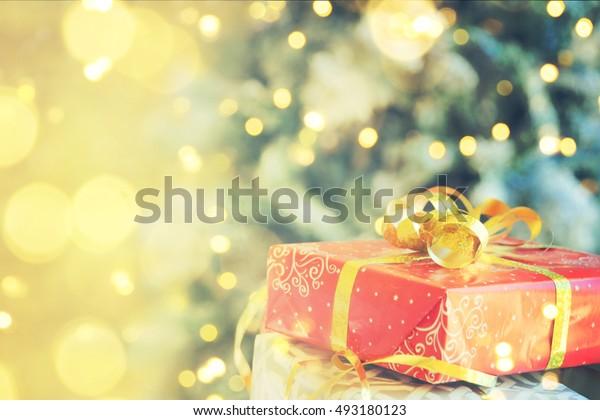 Christmas gift box, holiday background, Family holiday