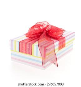 Christmas gift box isolated on white background