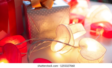 Christmas gift box and light for celebration