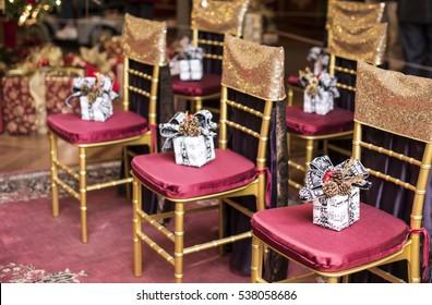 Christmas gift box on chair