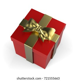 Christmas Gift Box, Red Box With Golden Ribbon And Golden Bow, 3D Illustration