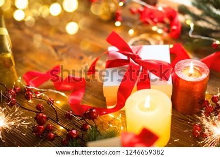 Christmas Gift Box Red Sanin Robbon Stock Photo (Edit Now ...