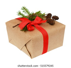 Christmas gift box with ribbon bow, fir-tree twig and small cones isolated on white