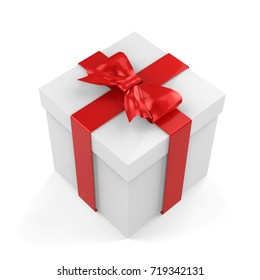 Christmas Gift Box, White Box With Red Ribbon And Red Bow, 3D Illustration