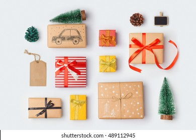 Christmas gift boxes collection with pine tree for mock up template design. View from above. Flat lay