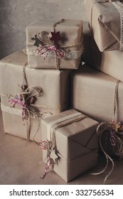Christmas gift boxes decorated with lace and stars, lifestyle, holiday, gift, celebrate, greeting