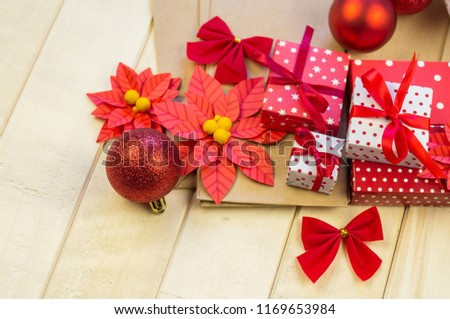 Christmas Gift Boxes Decorations Flat Lay Stock Photo (Edit Now ...