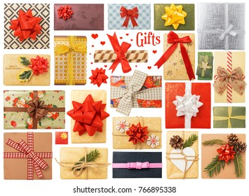 Christmas Gift Boxes Isolated on White Background. Contains variety of modern and vintage gift boxes.