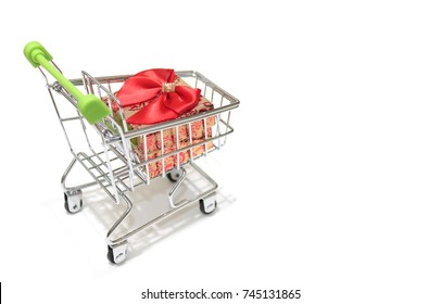Christmas gift boxes in mini shopping cart / trolley