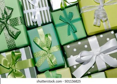 Christmas gift boxes,Top view closeup