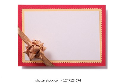 Christmas gift card gold bow red border