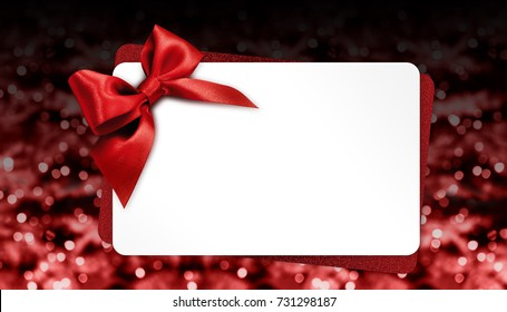 christmas gift card with red bow on blurred bright lights, template copy space