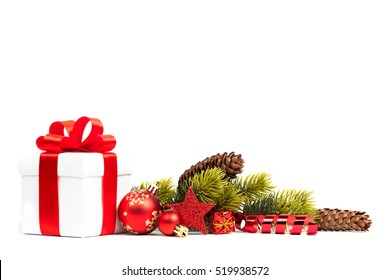 christmas gift with decoration isolated on white background