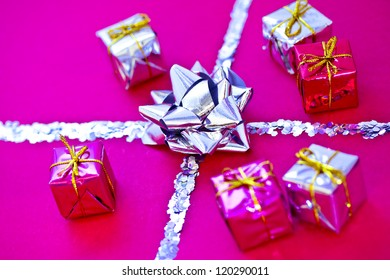 Christmas gift decoration made of silver confetti