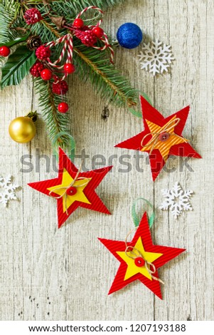 Christmas Gift Christmas Decorations Handmade Paper Stock Photo