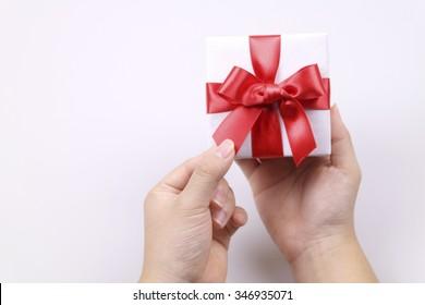 Christmas gift and hand motion