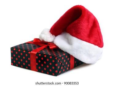 Christmas gift and santa hat