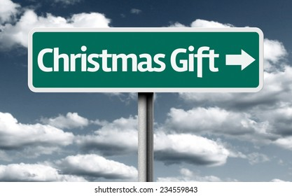 Christmas Gift sign on a beautiful day