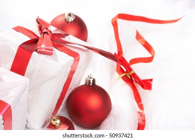 Christmas gift with tapes, new year ornaments