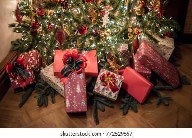 Christmas gift under christmas tree