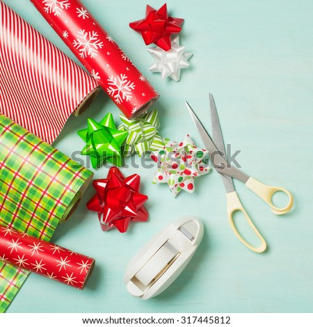 Christmas Gift Wrapping Party Time Colorful Stock Photo Edit Now