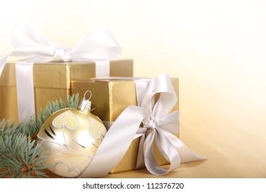 Christmas gifts with christmas ball