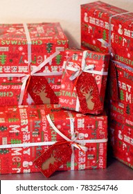Christmas gifts boxes. Christmas background. Christmas decorations. New Year background. Xmax background.