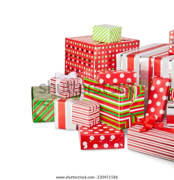 Christmas gifts in colorful boxes isolated on white background