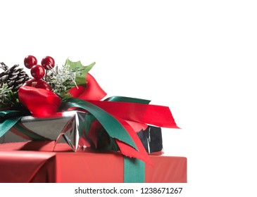 Christmas gifts with copy space for your text isolated on white background.